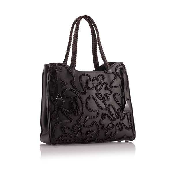 FL by NADA SAWAYA Tote Maroon Shari - Medium Embroidered Leather Tote Bag
