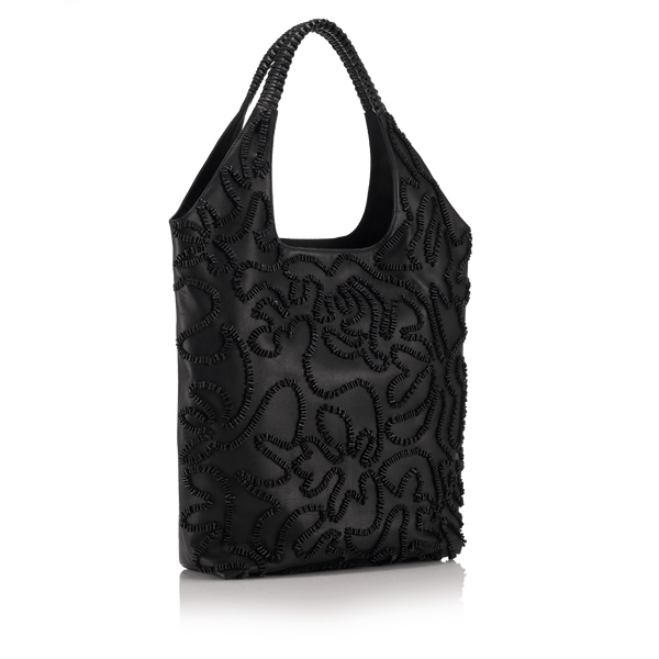 FL by NADA SAWAYA Tote Black Sofia - Embroidered Leather Tote Bag
