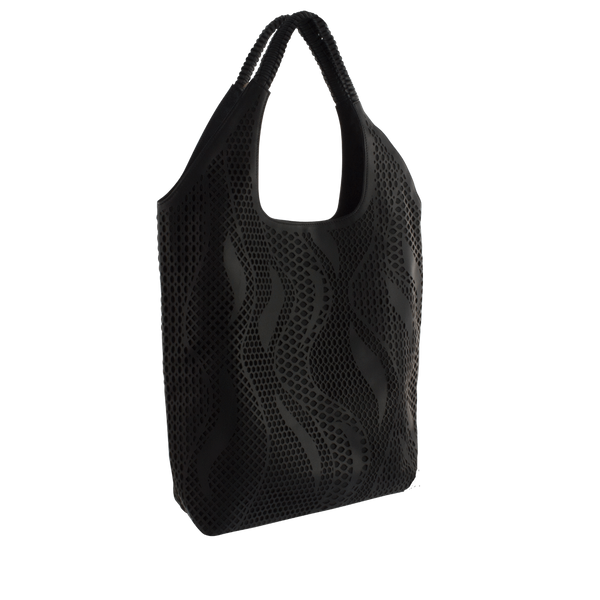 FL by NADA SAWAYA Tote Black Sofia - Laser Cut Leather Tote Bag - Wave Pattern