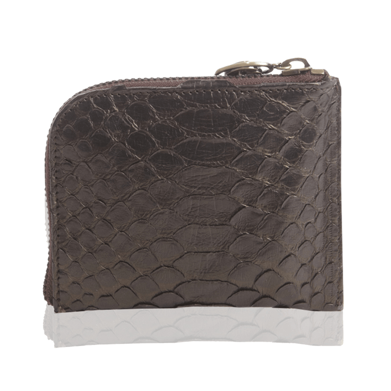 FL by NADA SAWAYA Wallet Black Small Square Zip-Around Python Wallet