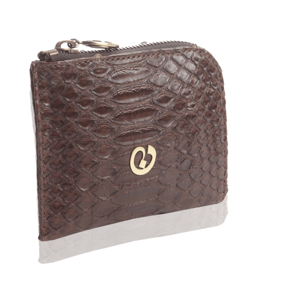 FL by NADA SAWAYA Wallet Brown / Antic Brass Small Square Zip-Around Python Wallet