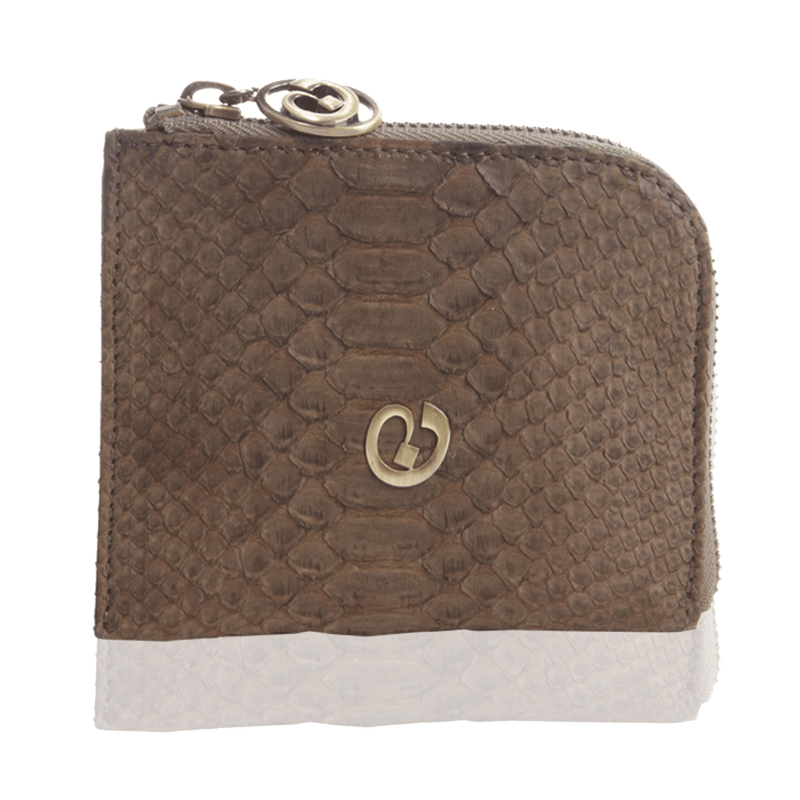 FL by NADA SAWAYA Wallet Coffee Small Square Zip-Around Python Wallet