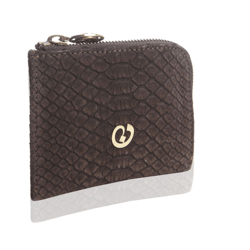 FL by NADA SAWAYA Wallet Dark Brown Small Square Zip-Around Python Wallet