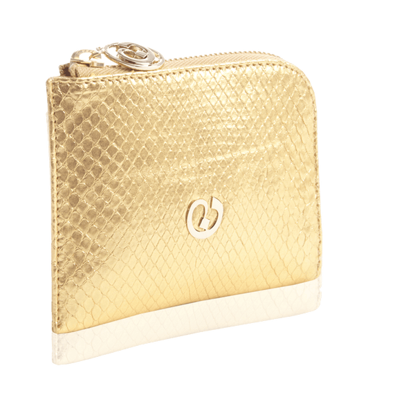 FL by NADA SAWAYA Wallet Gold Small Square Zip-Around Python Wallet