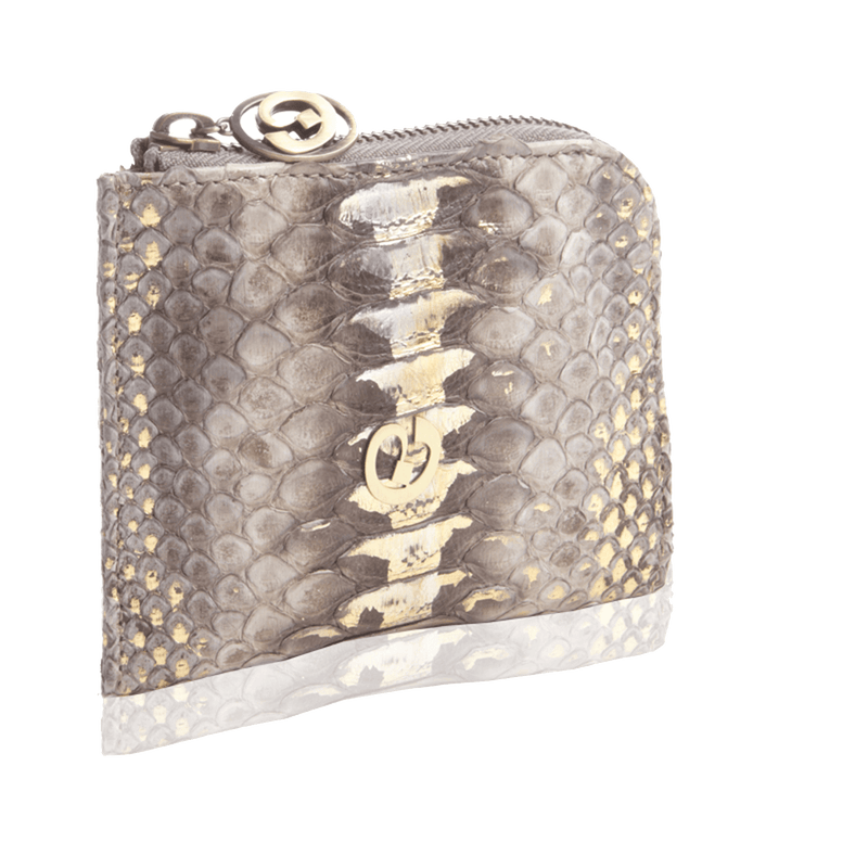FL by NADA SAWAYA Wallet Light Grey Small Square Zip-Around Python Wallet