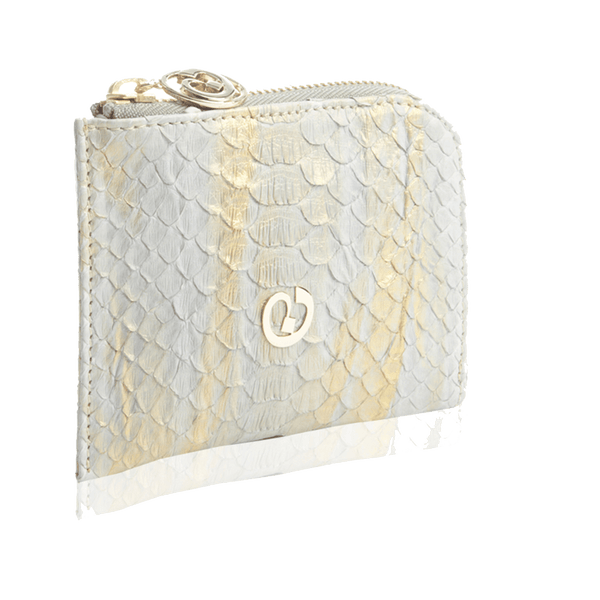 Small Square Zip-Around Python Wallet - Light Grey