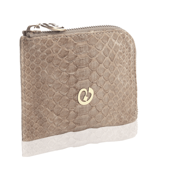 FL by NADA SAWAYA Wallet Light Taupe / Antic Brass Small Square Zip-Around Python Wallet