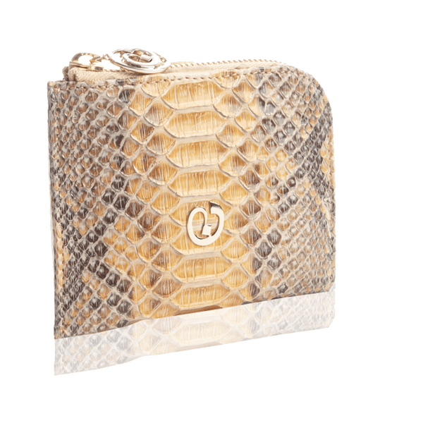 FL by NADA SAWAYA Wallet Natural Small Square Zip-Around Python Wallet
