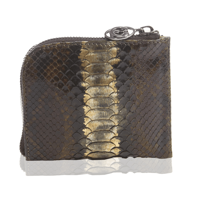 FL by NADA SAWAYA Wallet Olive Brown Small Square Zip-Around Python Wallet