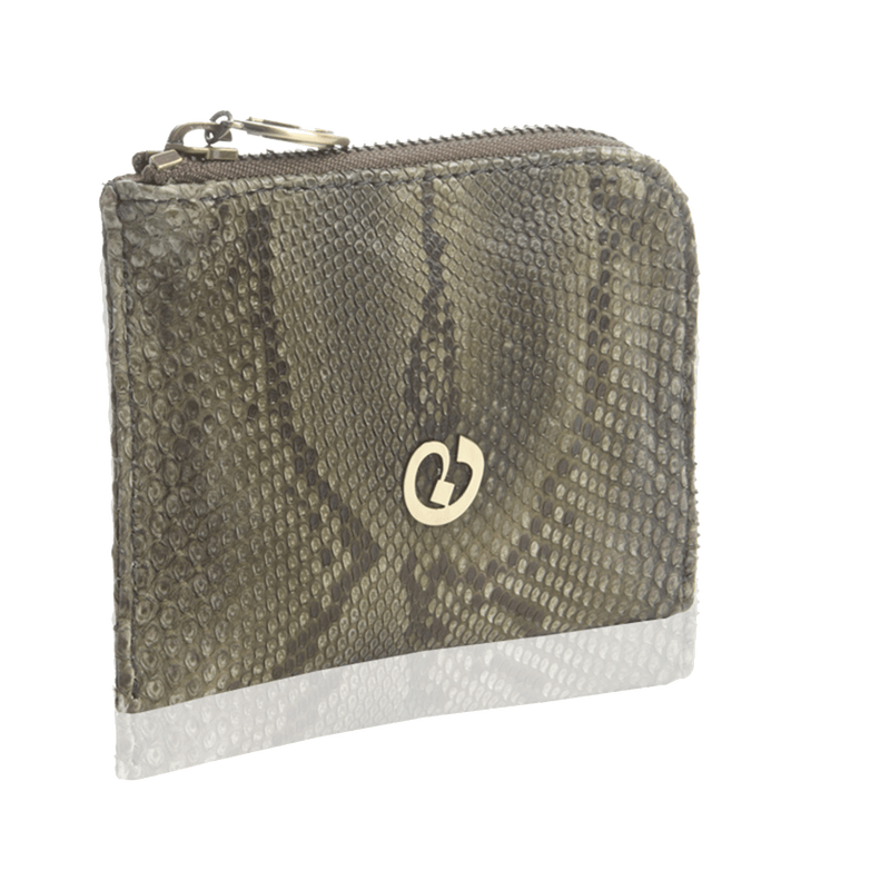 FL by NADA SAWAYA Wallet Olive / Gunmetal Small Square Zip-Around Python Wallet