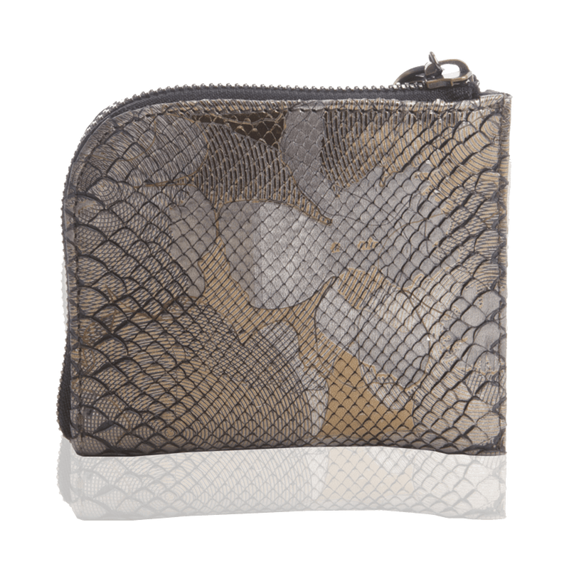 FL by NADA SAWAYA Wallet Pewter Small Square Zip-Around Python Wallet