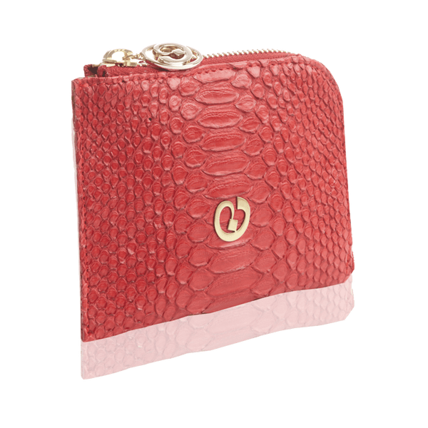 FL by NADA SAWAYA Wallet Red / Light gold Small Square Zip-Around Python Wallet