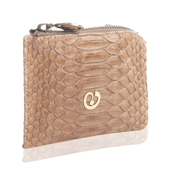 FL by NADA SAWAYA Wallet Tan / Antic Brass Small Square Zip-Around Python Wallet