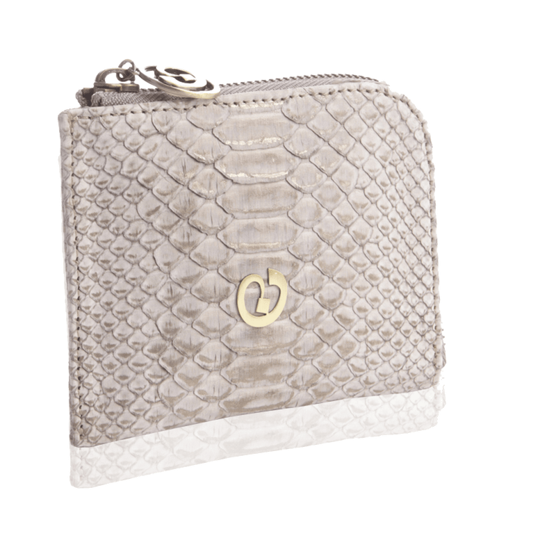 FL by NADA SAWAYA Wallet Taupe Small Square Zip-Around Python Wallet