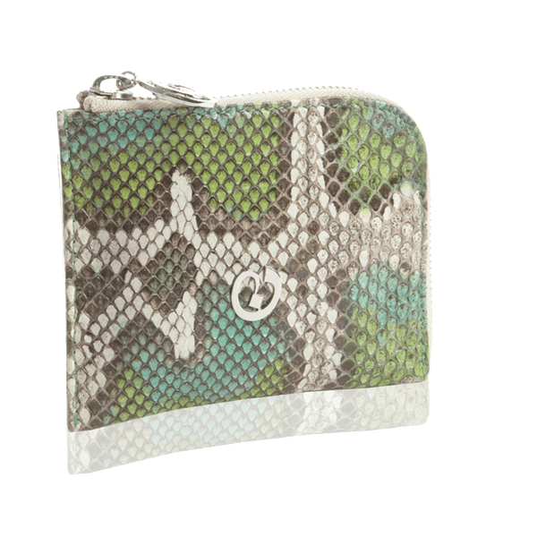 FL by NADA SAWAYA Wallet Turquoise Small Square Zip-Around Python Wallet