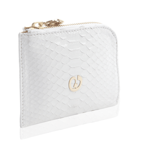 FL by NADA SAWAYA Wallet White Small Square Zip-Around Python Wallet