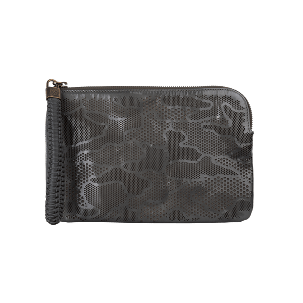 FL by NADA SAWAYA Wristlet Grey Olivia - Small Laser Cut Leather Wristlet Pouch - Camouflage Pattern