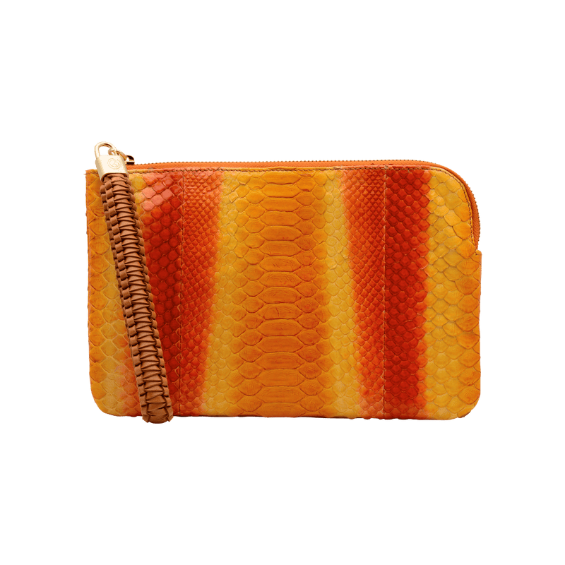 FL by NADA SAWAYA Wristlet Orange / Light gold Olivia - Small Python Wristlet Pouch