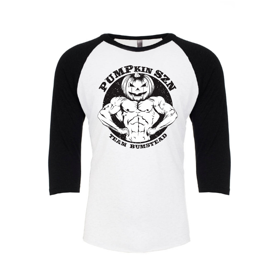 PUMPkin SZN Baseball Tee – Black/White