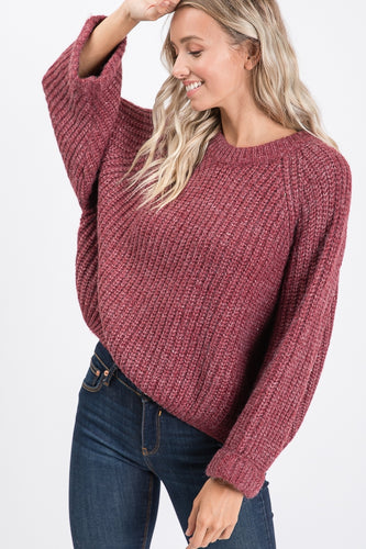 Wine Wide Sleeve Crop