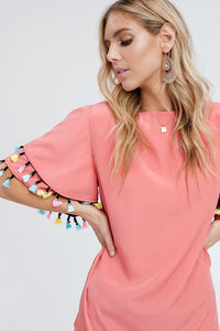 Colorful Trim Bell Sleeve