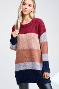 Long Color Block Sweater