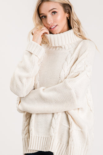 Ivory Oversized Cowl Neck