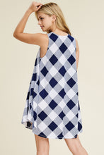 Load image into Gallery viewer, Navy Checkered Dress