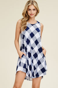 Navy Checkered Dress