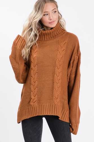 Rust Oversized Cowl Neck