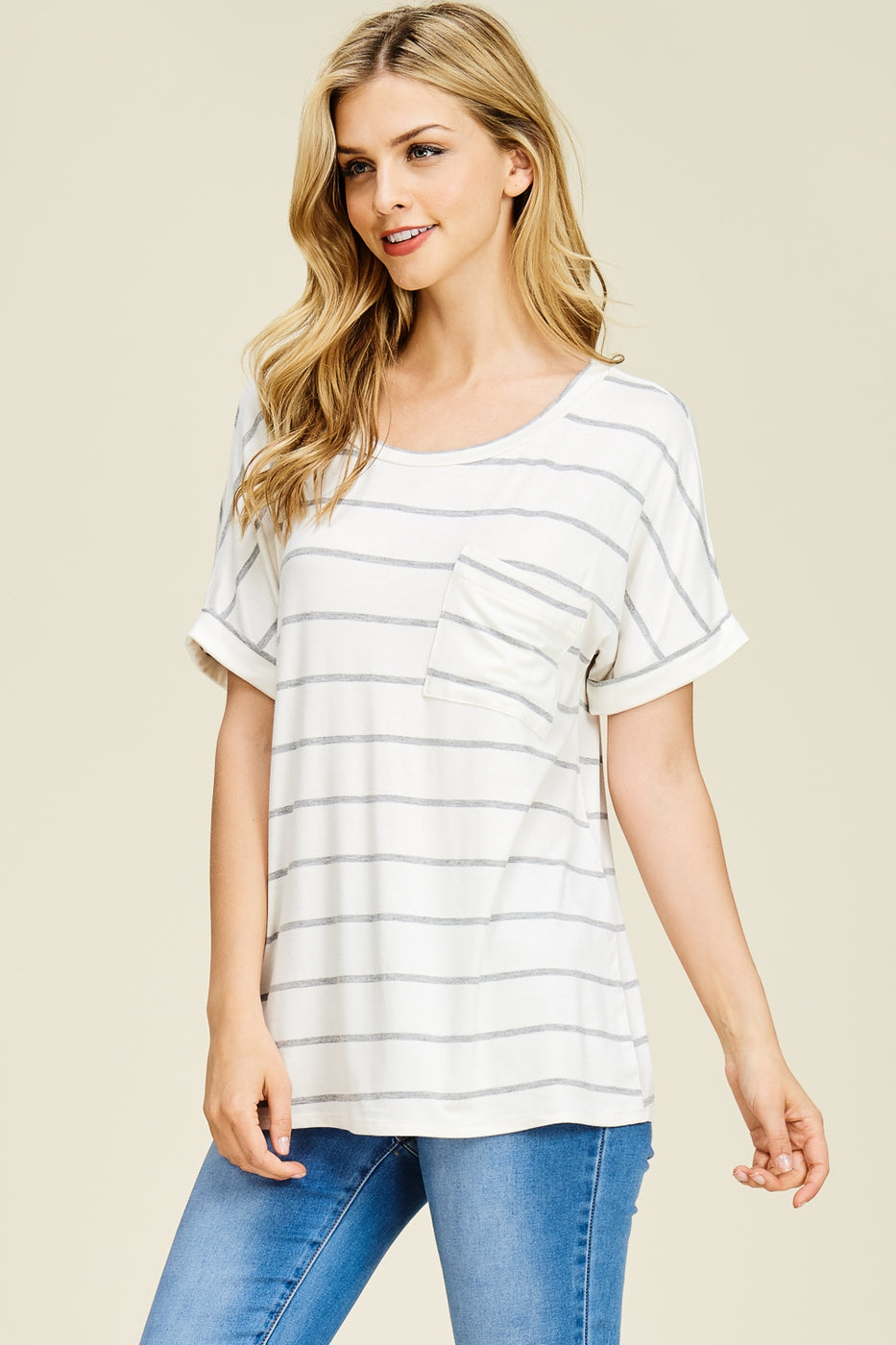 Cream Stripe Top