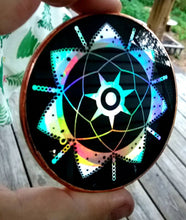 "Load image into Gallery viewer, The New 3"" Rainbow Holographic Ea - Enki - 2011 Crop Circle Energy Disk!"