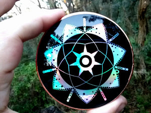 "The New 3"" Rainbow Holographic Ea - Enki - 2011 Crop Circle Energy Disk!"