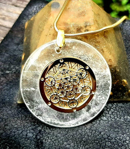 "New!  ""Origins"" MLH Designs -  Quartz Pendant Metatron Cube and 18k Gold Plated Flower of Life."