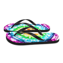 Load image into Gallery viewer, 432 Hz Flip Flops -  Reversed  Human Rainbow 7 Chakra Colors - Purple on outside to red in the center