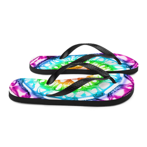 432 Hz Flip Flops -  Reversed  Human Rainbow 7 Chakra Colors - Purple on outside to red in the center