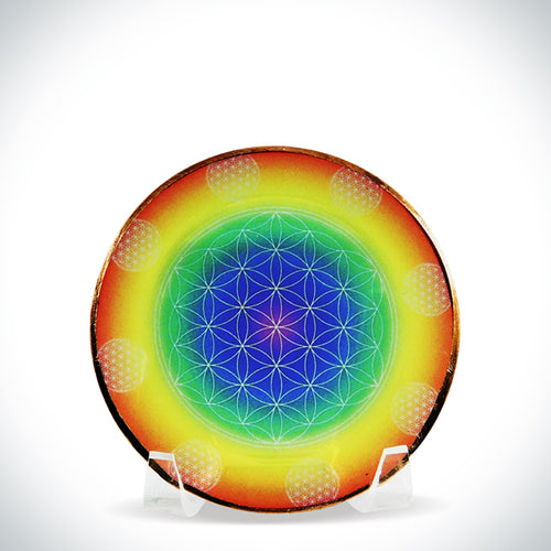 Rainbow Flower of Life Home Energy Disk