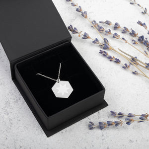 7 Pointed Star Engraved Silver Hexagon Necklace Version 2