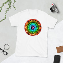 Load image into Gallery viewer, Short-Sleeve Unisex 432 Hz T-Shirt - Normal Human Rainbow 7 Chakra Colors - Red on outside to Purple in the center