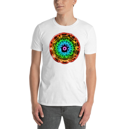 Short-Sleeve Unisex 432 Hz T-Shirt - Normal Human Rainbow 7 Chakra Colors - Red on outside to Purple in the center