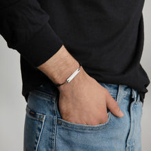 Load image into Gallery viewer, Anunnaki Engraved Silver Bar String Bracelet