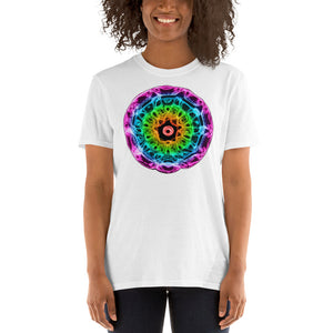 Short-Sleeve 432 Hz Unisex T-Shirt - Reversed Human Rainbow  7 Chakra Colors - Purple on outside to Red in the center