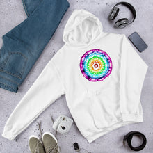 Load image into Gallery viewer, 432 Hz Unisex Hoodie - Reversed Human Rainbow 7 Chakra Colors - Purple on outside to Red in the center