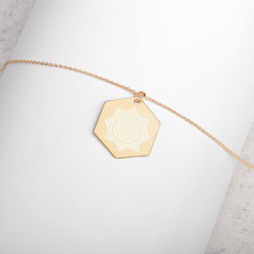 Sacred Geometry Engraved Silver Hexagon Necklace