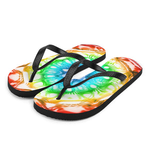 432 Hz Flip Flops -  Normal Human Rainbow 7 Chakra Colors - Red on outside to Purple in the center