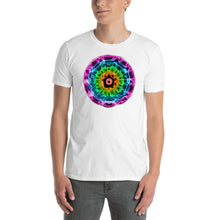 Load image into Gallery viewer, Short-Sleeve 432 Hz Unisex T-Shirt - Reversed Human Rainbow  7 Chakra Colors - Purple on outside to Red in the center