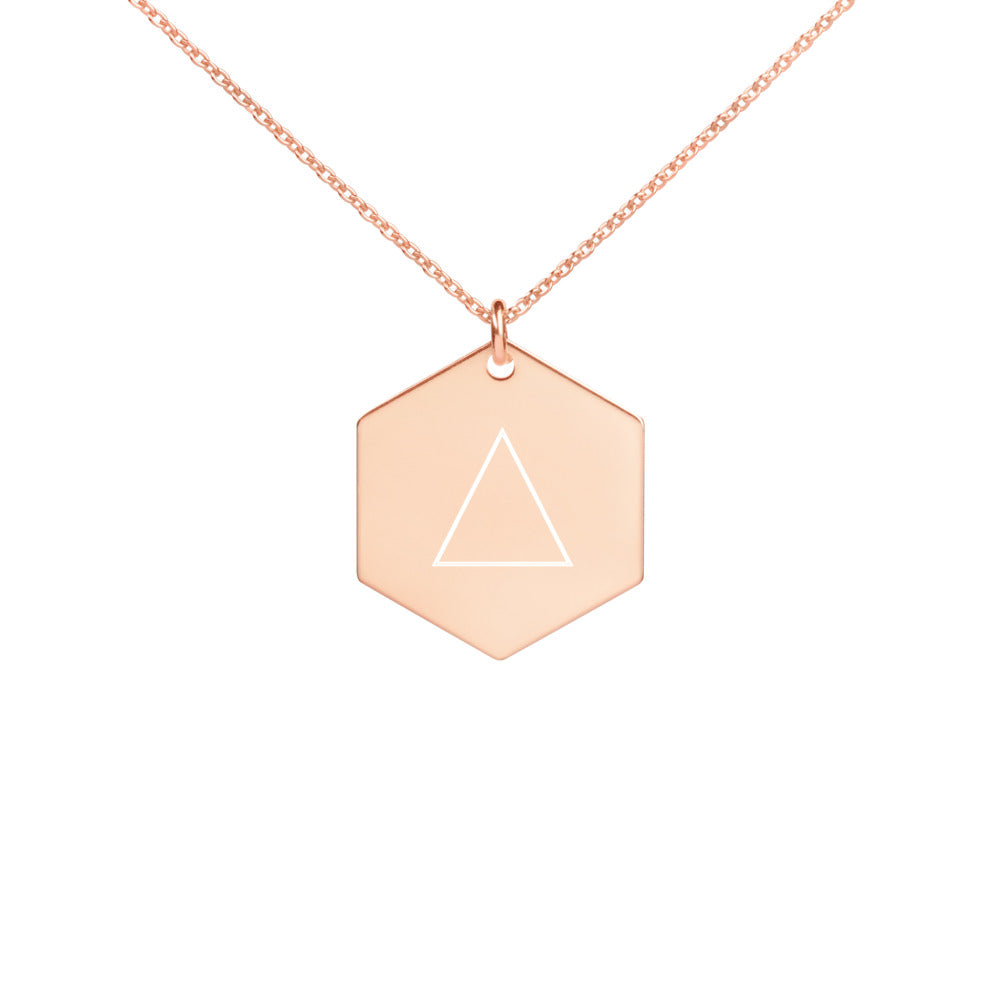 Women's Tetrahedron Engraved Silver Hexagon Necklace Version 2