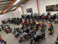 Our two storey showroom can house up to 80 bikes indoors, along with helmets from Arai, AGV, and Spada, motorcycle clothing from RST and Wolf, and motorcycle boots from RST and Sidi.