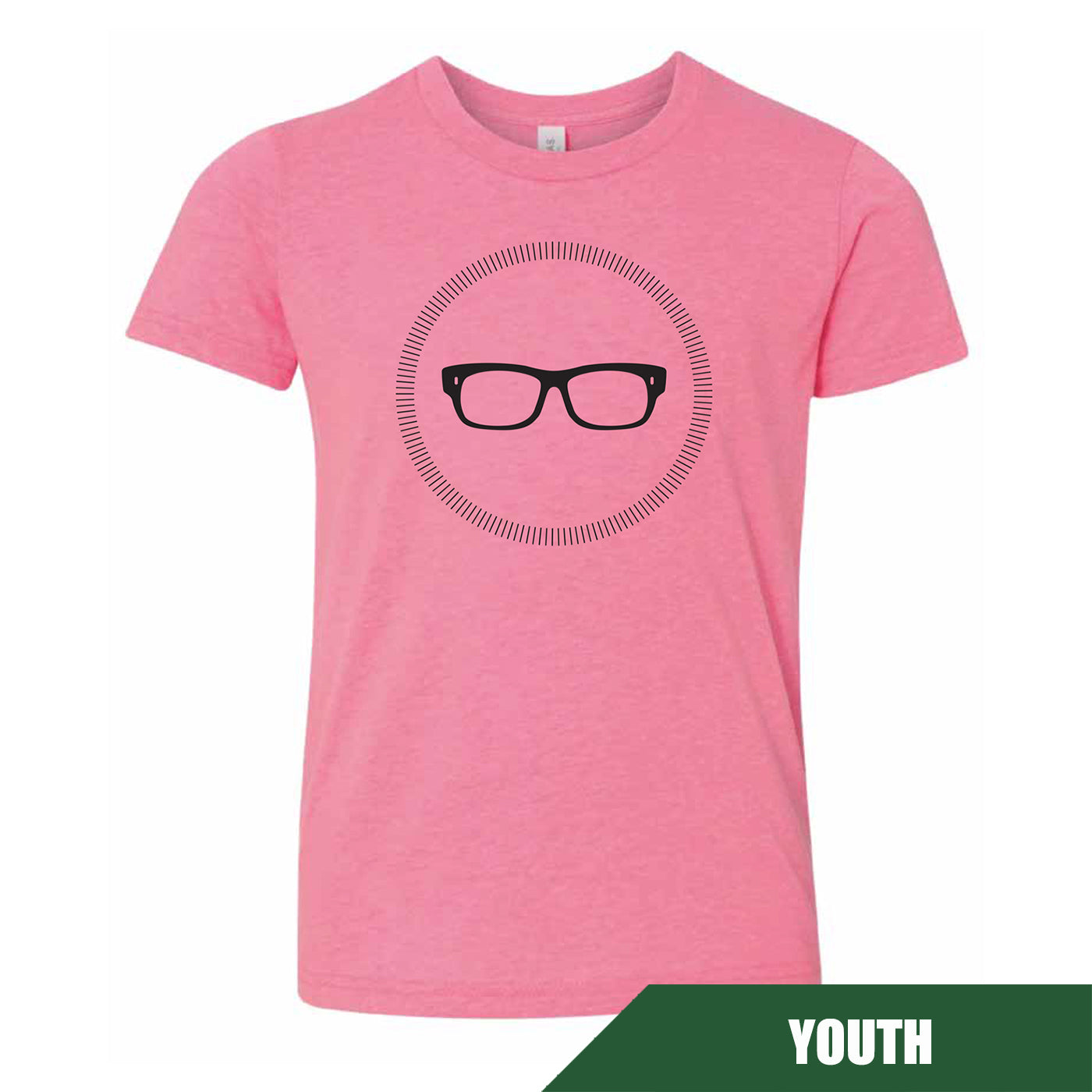 Maddon's Post Youth Glasses Logo Bella Pink Tee | Maddon's Post