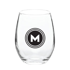 Maddon's Post 'M' Circle Logo Stemless Wine Glass | Maddon's Post